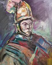 JOSE TRUJILLO OIL PAINTING Expressionism Rembrandt Man Golden Helmet Size 30x40