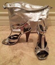ALDO Silver Metallic Leather Open Toe Strappy Sandal Heels 5.5M ANNA B Purse