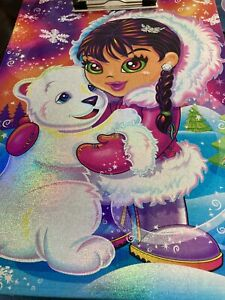 Lisa frank Club 2006 Anana Polar Bear Puffin Winter Clip Board Girl Bird Shiny