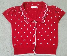 Polka Dot Kawaii Cute Flower Puff Sleeve Japan Korea Scalloped Collar Cardigan