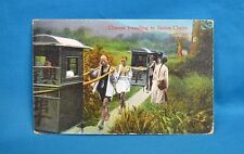 1920s Colour Printed Postcard Chinese Travelling In Sedan Chairs China