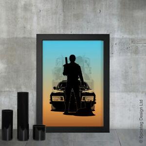 Max A3 Print V8 Interceptor 80s Car A3 Print Retro 80s Sports Racing Motor Art