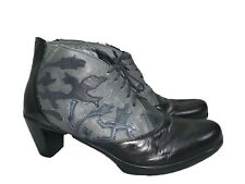 Naot Baccio Embroidered Leather Black Heel Ankle Boots Women 40 9 9.5 M $225