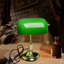 Vintage Brass Green Bankers Desk Lamp Classic Table Light with On Cord Switch