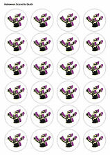 24XPRECUT HALLOWEEN PARTY SCARED TO DEATH EDIBLE WAFER CUPCAKE CAKE TOPPERS 1431