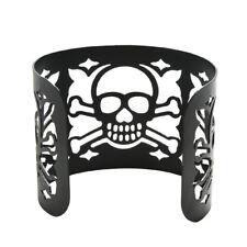 Women Cuff Black Punk Style Metal Bangle Wide Hollow-out Skull Bracelet