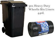 30x BLACK STD WHEELIE BIN LINERS STRONG REFUSE SACKS THICK BIG RUBBISH BAGS XXL