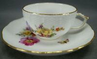 KPM Berlin Hand Painted Dresden Floral Butterfly & Gold Tea Cup & Saucer D