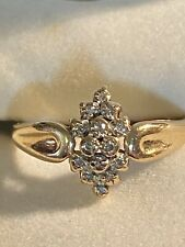 Vintage 10K Yellow Gold Diamond Cluster Ring~Size 7.75