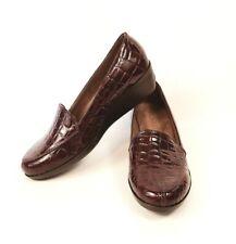 Aerosoles Wine Red Croc Embossed Print Slip On Comfort Loafers Shoes Women 6.5M