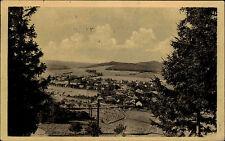 Jince u Přibrami Tschechien gut frankierte AK 1952 Blick von oben Panorama