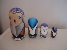 Set of Four Modern Wooden Nesting Owl Dolls Hand Painted Gorgeous! L@K!
