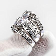 Promise Jewelry Fashion Silver White Topaz CZ Women Wedding Ring 3Pcs/Set