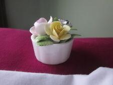 Royal Doulton Bone China Miniature Roses Carnation 3 Flowers White Bowl England