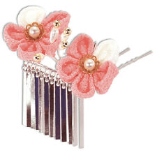 Japanese Hair Ornament Kanzashi Pink Silk Flowers Silver Links Prongs Style