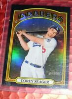 2021 TOPPS HERITAGE  BLACK CHROME REFRACTOR COREY SEAGER / 72