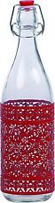 Ragalta USA RAG-G-005R Airtight Glass Tabletop Red Condiment Bottle With Lid