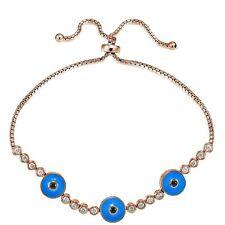 Rose Gold Tone on 925 Silver & CZ Triple Round Blue Evil Eye Adjustable Bracelet