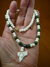 "S24-152) 1-1/16"" Oceanic White Tip SHARK Tooth aceh cow bovine bone necklace"