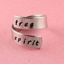 Free Spirit Wrap Ring Adjustable Twist Aluminum Ring Handstamped Ring