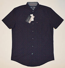 NWT TOMMY HILFIGER men Casual Short Sleeve Shirt, L, Lage, Blue, New York Fit