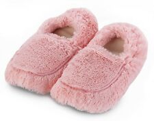 Intelex Cozy Microwavable Slippers Pink Heatable Luxury Furry Bed Feet Warmer