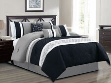 11-Pc Natal Diamond Star Medallion Comforter Curtain Set Black Gray White Queen