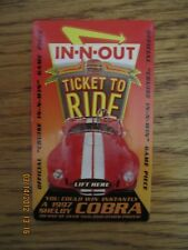 IN-N-OUT BURGER  COBRA Give-away game pieces , from 1997