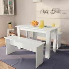 vidaXL Dining Table and Benches 3 Piece Chipboard White Kitchen Furniture Set