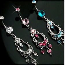 Chandelier Belly Ring Made With Swarovski Crystal Gems Pink,Clear,Aqua Navel