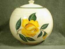 VINTAGE COOKIE JAR 6614 WHITE BALL TYPE WITH RINGS YELLOW ROSE GREEN TRIM