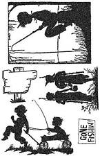 Unmounted Rubber Stamps Silhouette Fishing Set