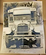 Early Original 1900s Mack Bus Truck Photograph B & W Front View Logos