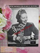 Vintage 1940s Knitting Pattern Lady's Stunning Scarf, Gloves & Mittens Set.