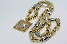 """New One of a Kind Versace 14K Solid Gold Greek Pendant 10 MM Heshe Necklace 26"""""""
