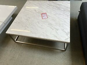 Marble And Brushed Steel Square Coffee Table By Dwell