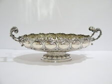 13 1/8 in - European Silver Antique German Ornate Oval Serving Dish w/ Handles