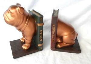 """Bulldog Bookends GEORGE HARDY Home Office Vet Dog Decor 7.5"""" x 9.75"""" 2pc Gift"""