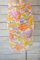 TOGS Swimwear SKirt Sz large 12 14 orange white floral sarong wrap skirt