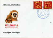 Azerbaijan 2016 FDC Year of Monkey 2v Set Cover Chinese Lunar New Year