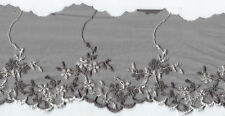 "4"" GREY GRAY EMBROIDERED LACE GUIPURE FABRIC TRIM 9&1/2 YARDS"