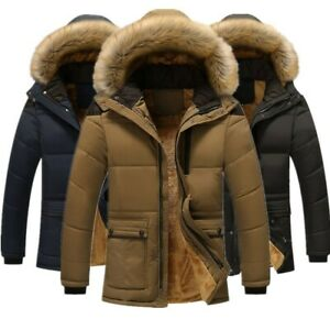 Men's Winter Warm Fur Collar Thick Parka Coat Outwear Hooded Plus velvet Jacket