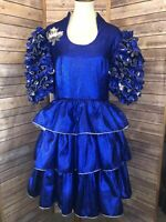Vintage Women's Sparkle Blue Ruffle Dress Square Dance Prom Puffed Sleeves Dress