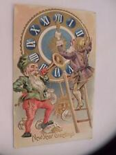 VINTAGE POSTCARD NEW YEAR GREETINGS FANTASY ELVES GNOMES POSTED 1908