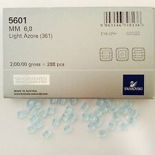 Swarovski Crystal 6mm Cubes #5601- Lt. Azore - 288 PC Factory Pack