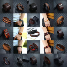 Punk Mens Women Wide Leather Braided Bracelet Cuff Bangle Wristband Surfer Wrap