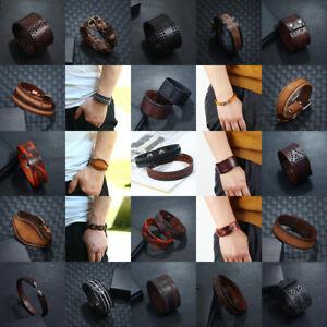 Punk Mens Women Wide Leather Braided Bracelet Cuff Bangle Wristband Surfer Wrap