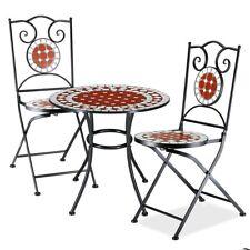 Set Tavolo + Sedie Pieghevoli Mosaico Arredo Esterno Giardino Metallo Terracotta