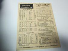 Original January 2 1958 WINCHESTER AMMUNITION RETAIL PRICE LIST