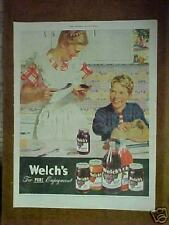 1947 Welch's Jelly~Juice Grape Kids~Boy~Mom Toast~DONALD DOUGLAS~Art Print AD